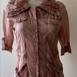 "Monoreno Lgt Jacket Small Mauve Pink Sheer 3/4"" Sl"
